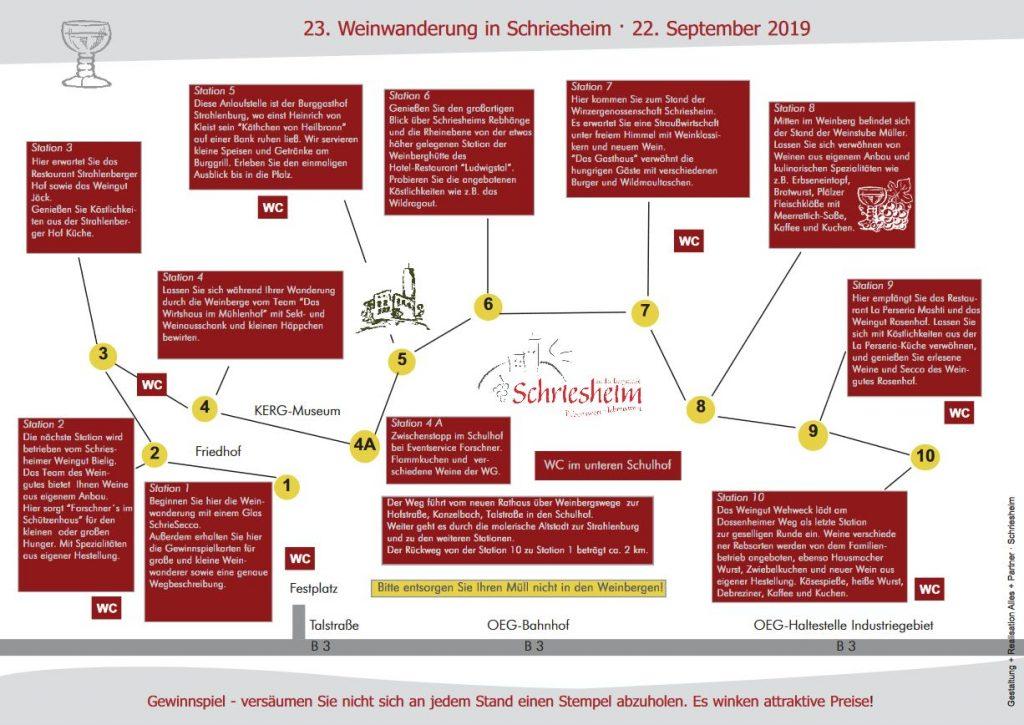 Weinwanderung Schriesheim 2019 - Termin und alle Informationen - Plan mit Stationen
