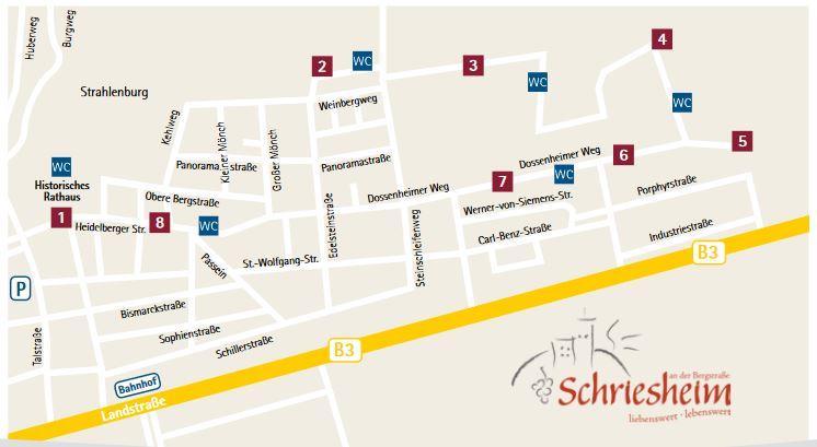 Plan der Stände der 2020 Rotweinwanderung in Schriesheim
