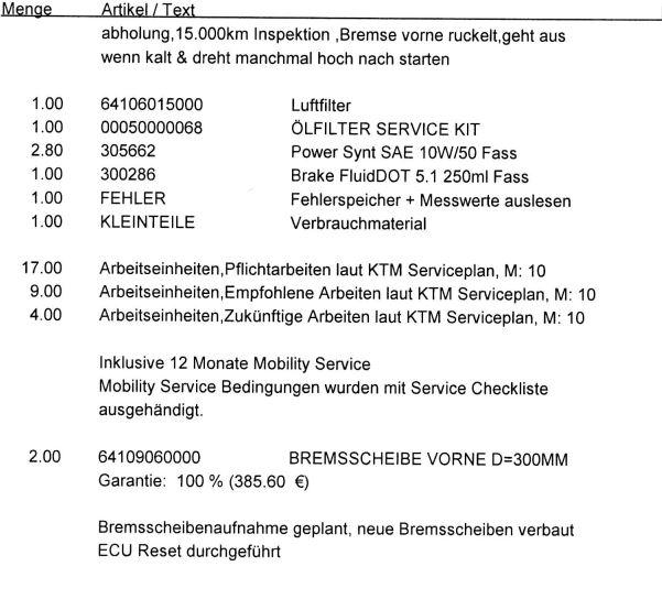 KTM 790 Duke 15000 Km Inspektion kosten