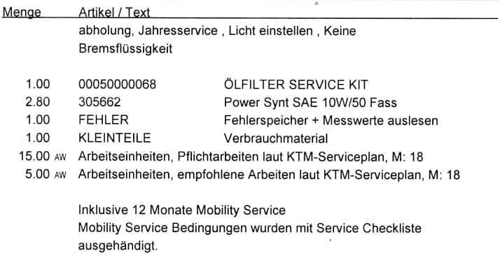 KTM 790 Duke Inspektion 18000 Rechnung und Arbeiten